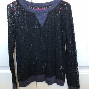 Black and Blue Lacy Top